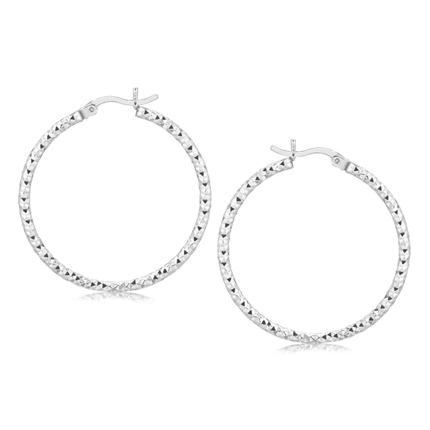 Sterling Silver Rhodium Plated Woven Style Polished Hoop Earrings