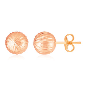 14K Rose Gold Ball Earrings with Linear Texture