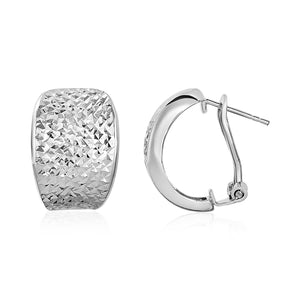 Textured Graduated Width Half-Hoop Earrings in Sterling Silver