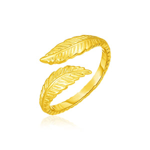 14k Yellow Gold Bypass Style Toe Ring with Leaves