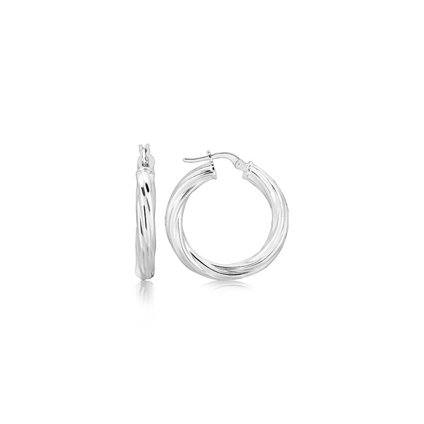 Sterling Silver Diamond Cut Twisted Motif Hoop Earrings