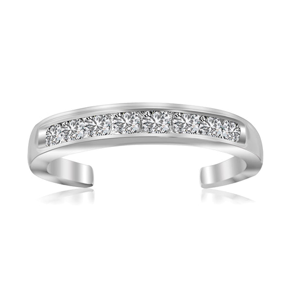 Sterling Silver Rhodium Finished Toe Ring with White Tone Cubic Zirconia Accents