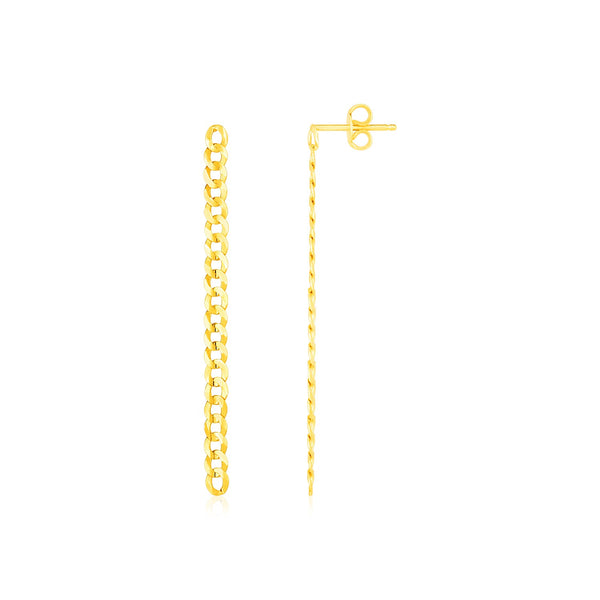 14K Yellow Gold Fine Curb Chain Earrings