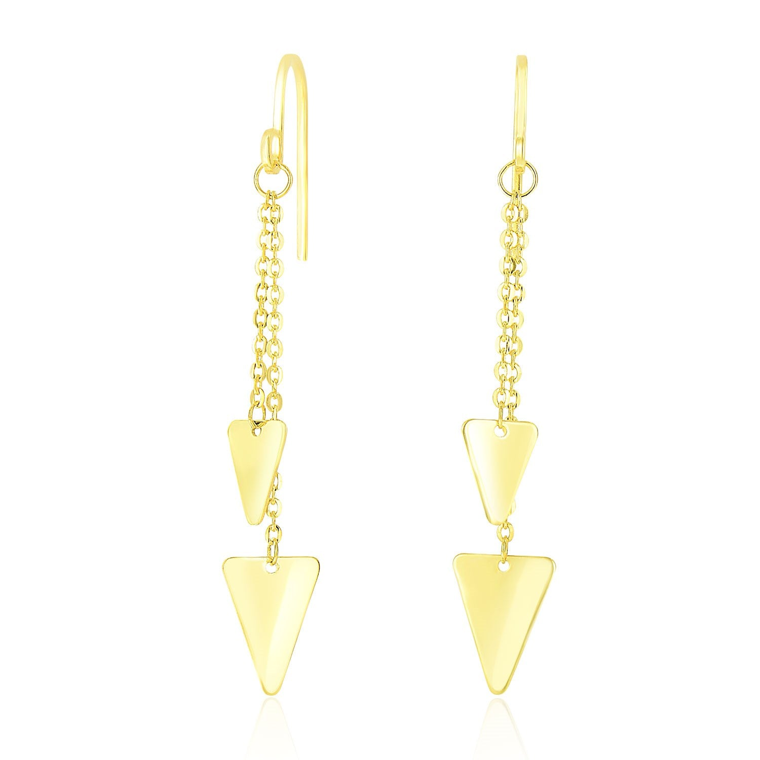 14K Yellow Gold Two-Size Triangle Motif Chain Dangling Earrings