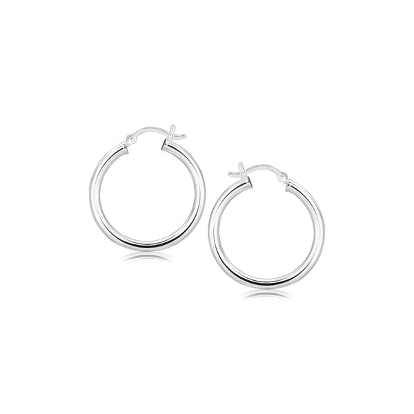 Sterling Silver Rhodium Plated Polished Look Hoop Earrings (25mm)