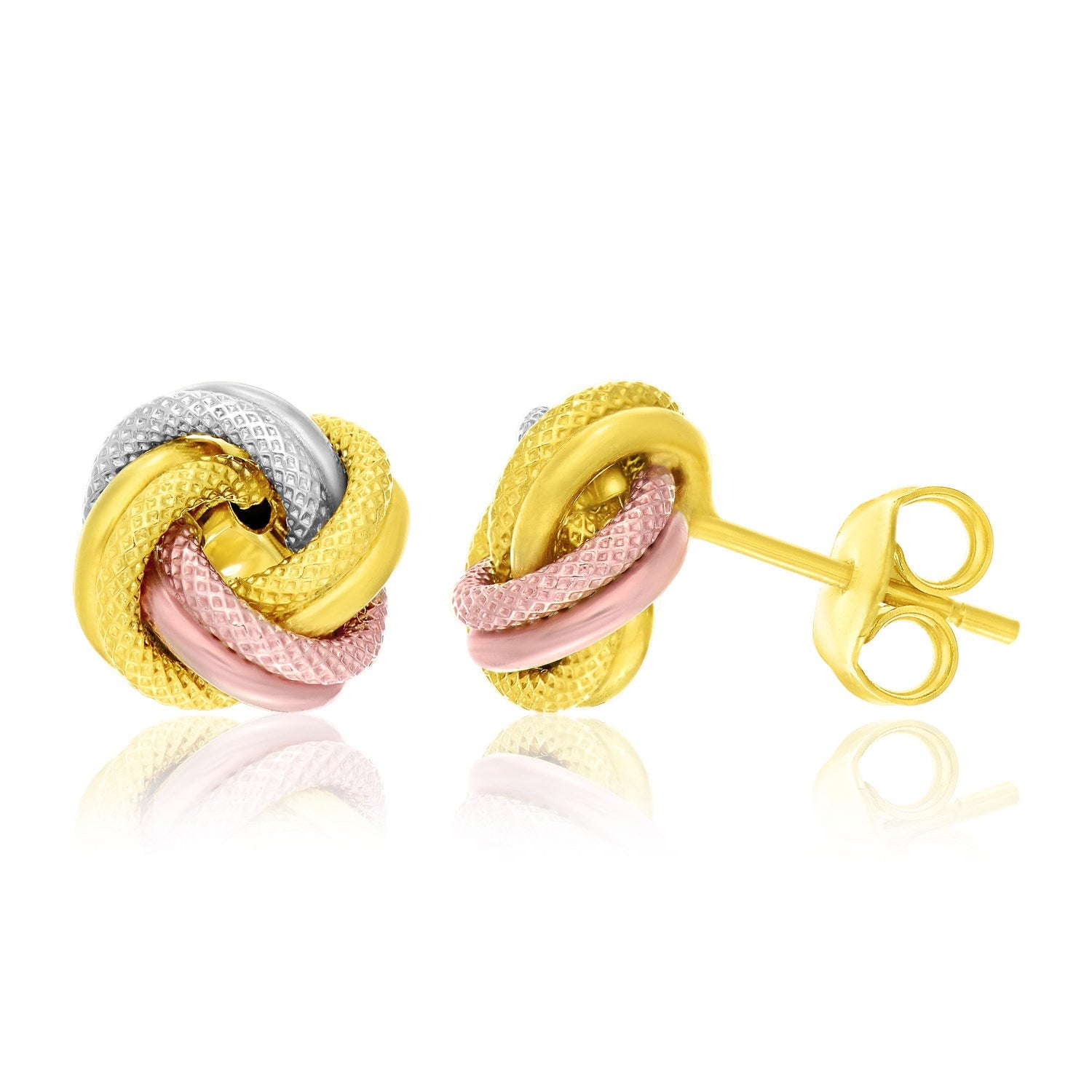 14K Tri-Color Gold Textured Love Knot Style Earrings
