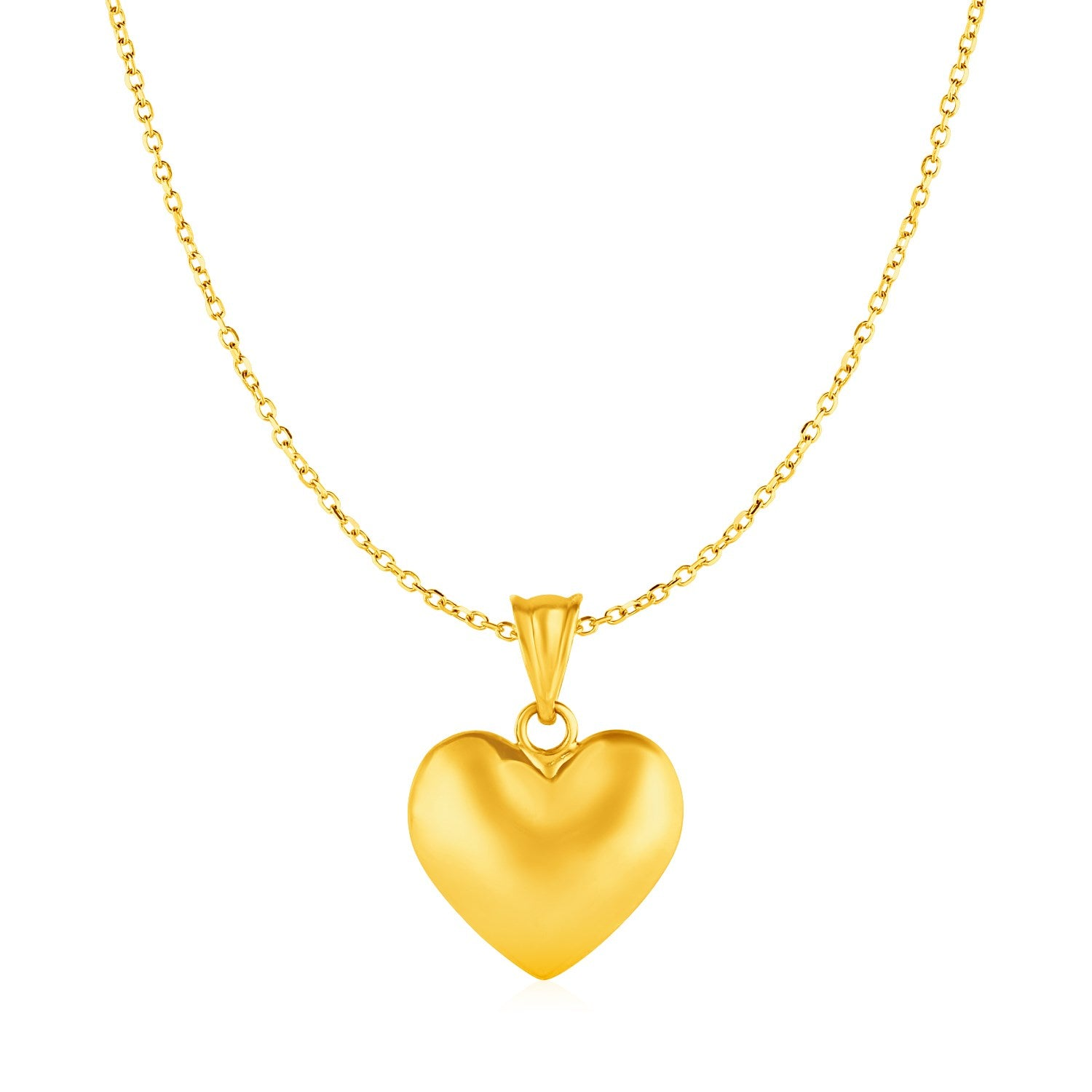 Puffed Heart Pendant in 10k Yellow Gold