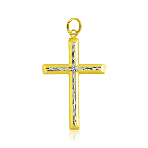 14k Two-Tone Gold Fancy Diamond Cut Crucifix Pendant