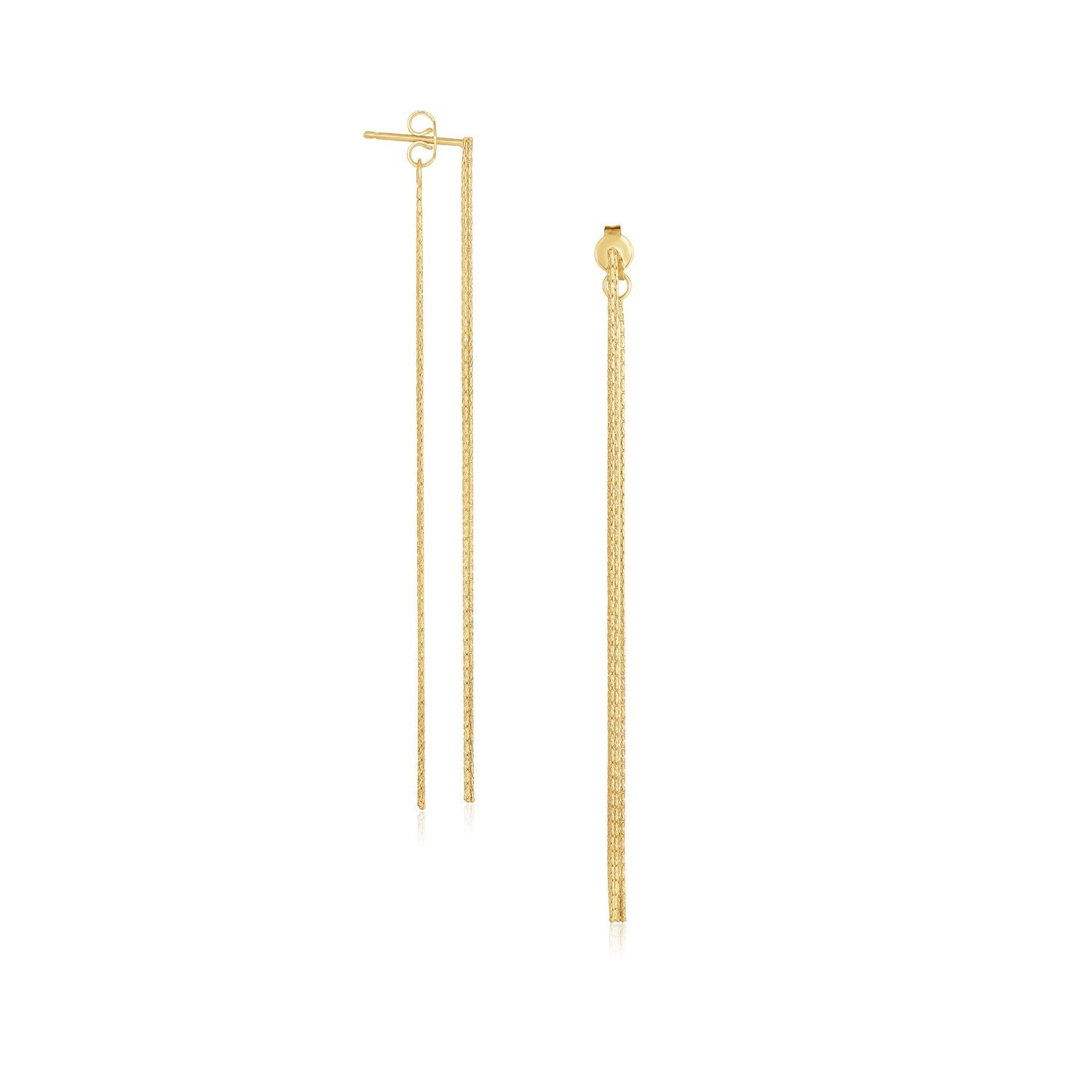 14K Yellow Gold Double Chain Style Drop Earrings