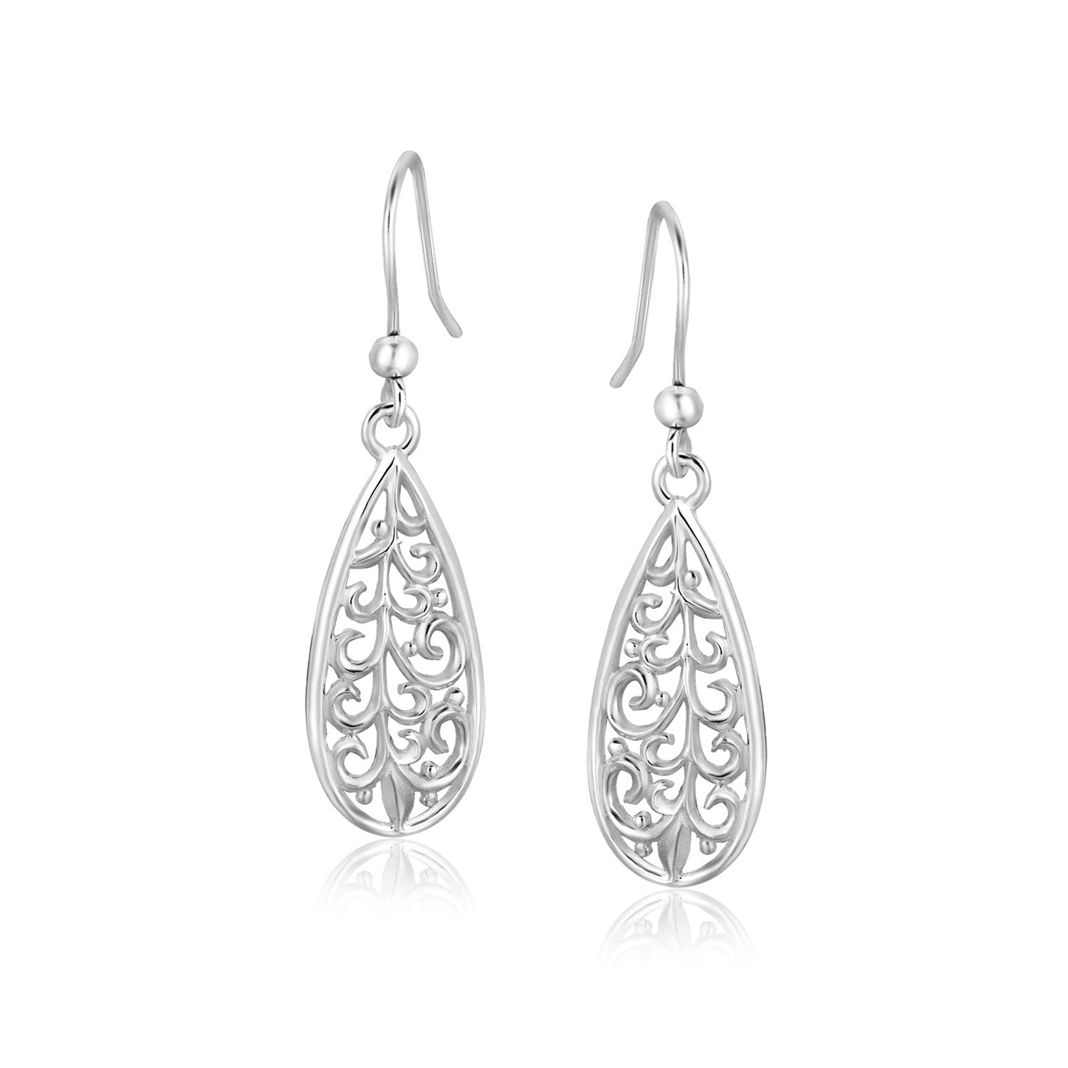 Sterling Silver Teardrop Filigree Style Drop Earrings