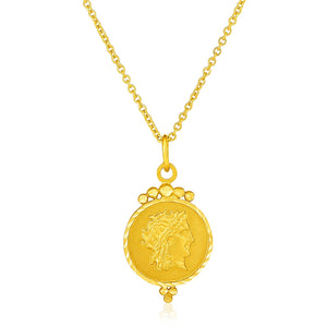 14k Yellow Gold with Round Roman Coin Pendant