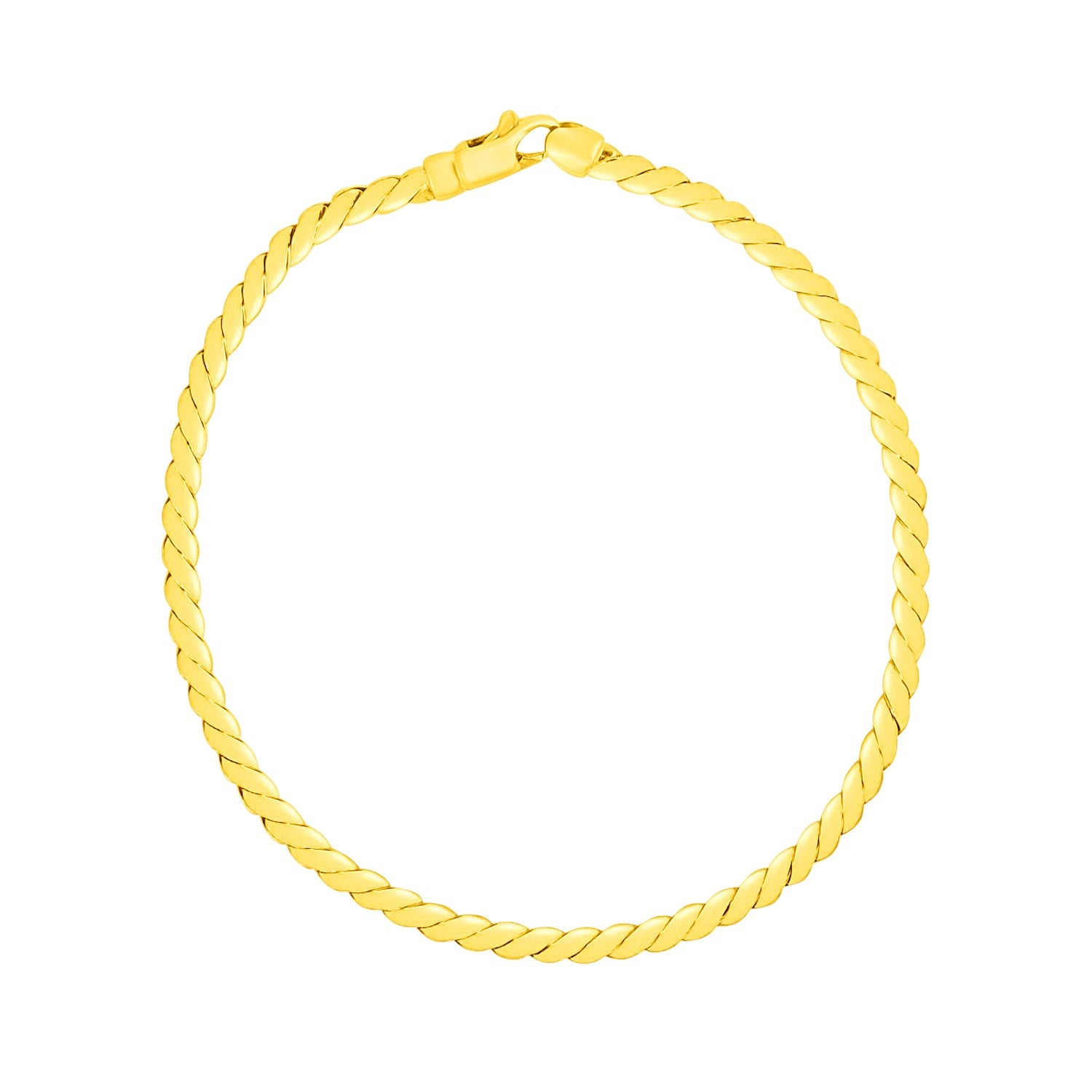 14K Yellow Gold Twisted Link Bracelet