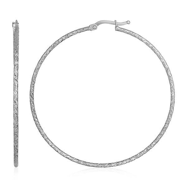 14k White Gold Large Textured Hoop Earrings (50mm Diameter) (1.5mm)