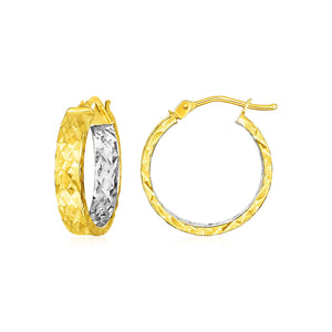 14k Yellow Gold Wide Hoop Earrings with Diamond Cut Texture