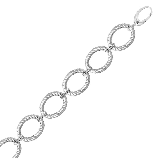 Sterling Silver Rhodium Finished Diamond Accented Cable Oval Bracelet (.20cttw)