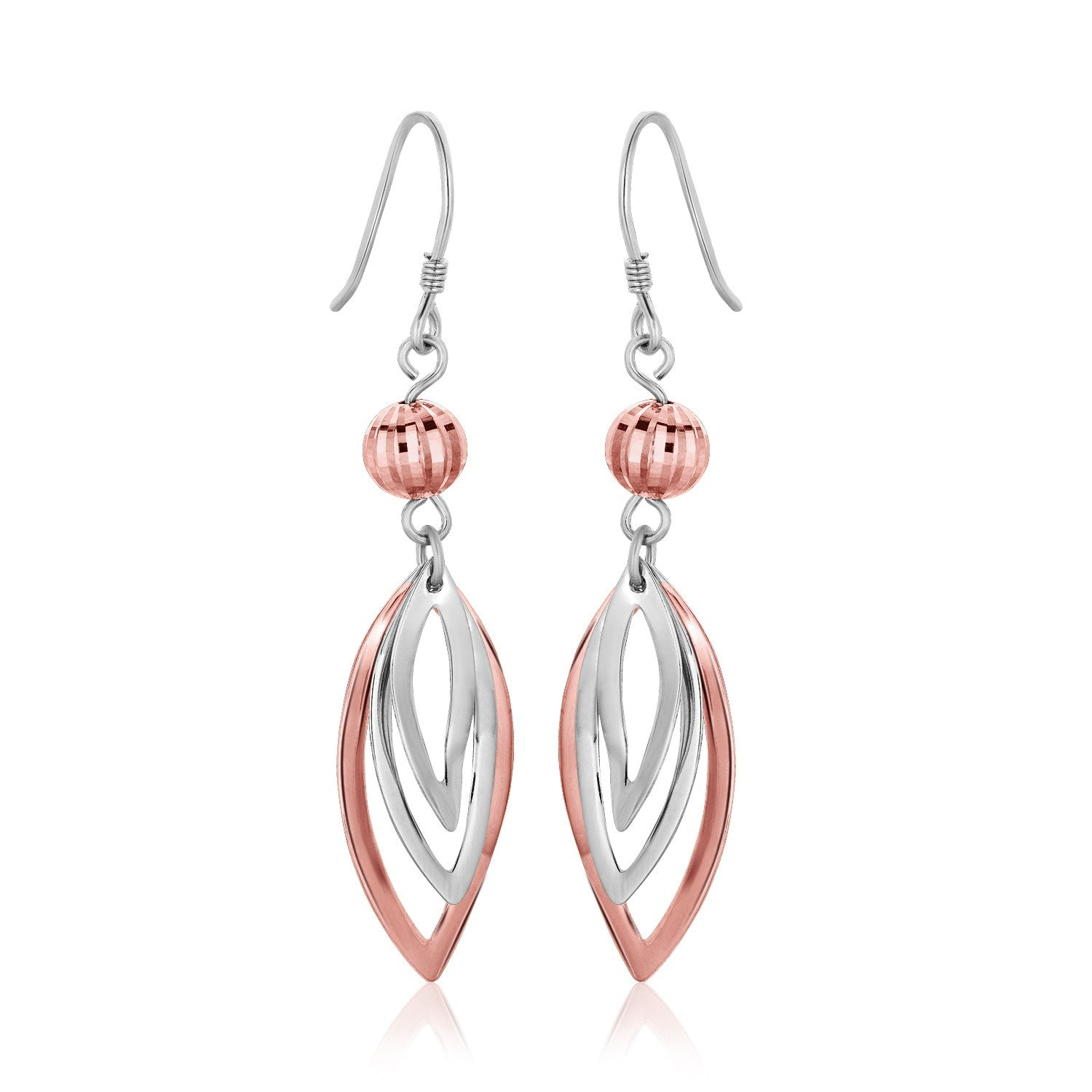 Sterling Silver Rose Tone Cascading Open Marquis Drop Earrings