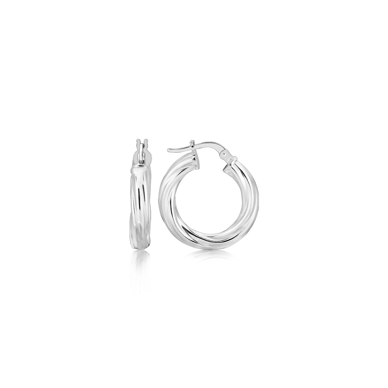 Sterling Silver Diamond Cut Twist Design Hoop Earrings