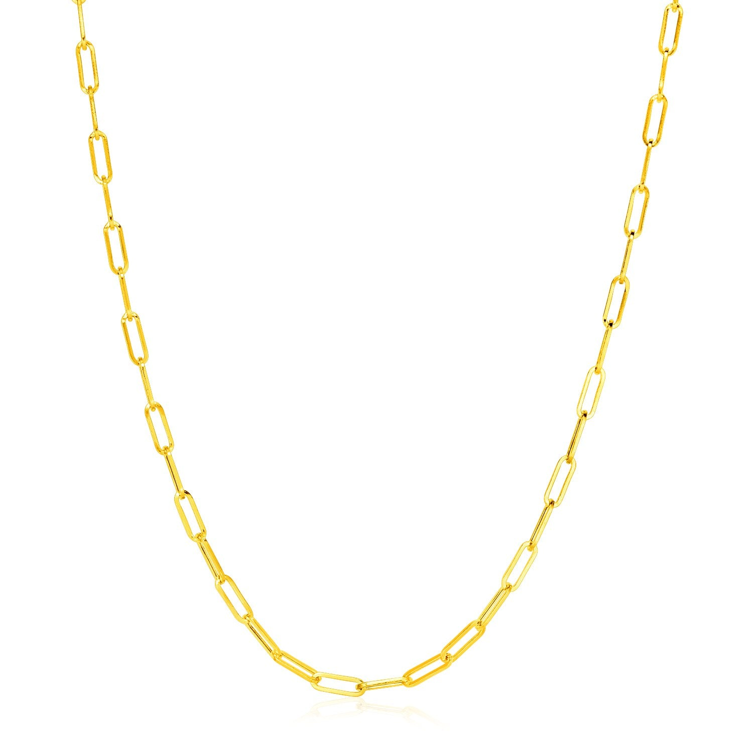 14K Yellow Gold Wide Paperclip Chain (3.3mm)