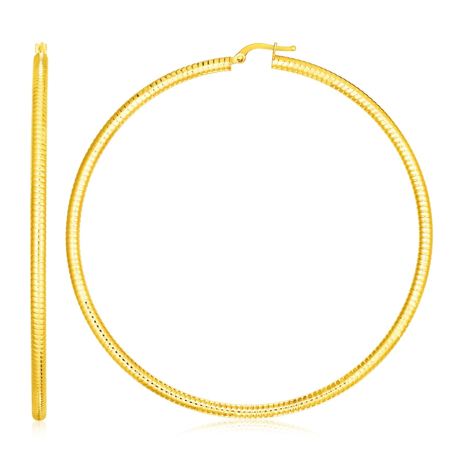14k Yellow Gold Polished Large Round Hoop Earrings