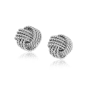 Sterling Silver Textured Love Knot Stud Style Earrings