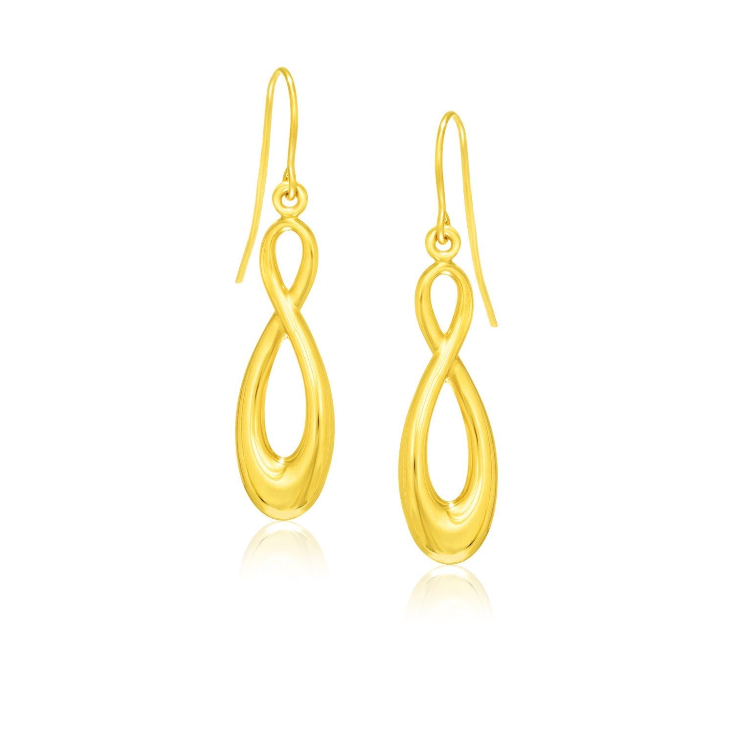 14K Yellow Gold Polished Earrings in Infinity Design