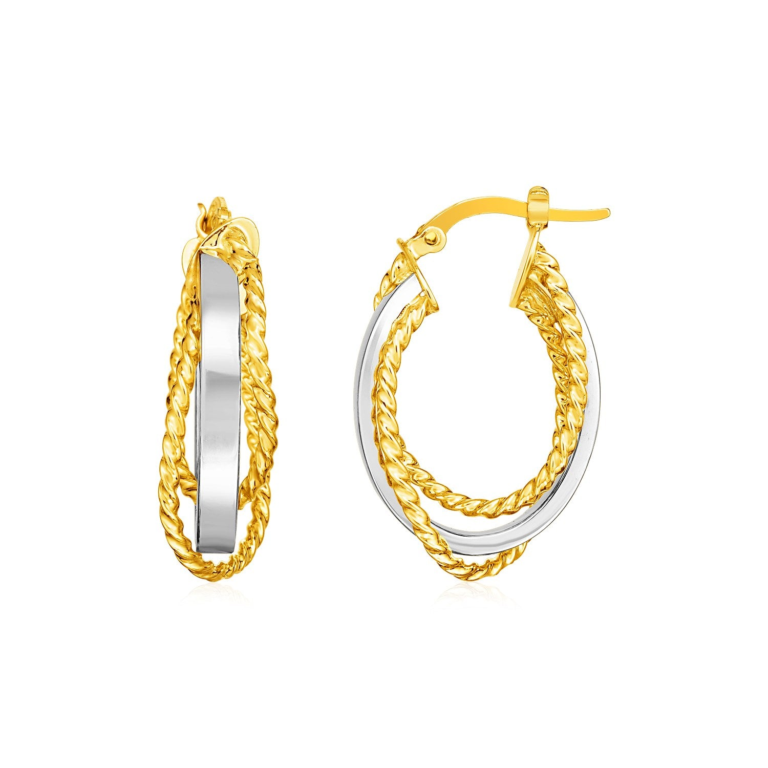 14k Two Tone Gold Three Part Shiny and Textured Oval Hoop Earrings