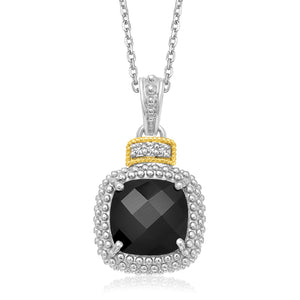 18k Yellow Gold & Sterling Silver Popcorn Cushion Black Onyx and Diamond Pendant