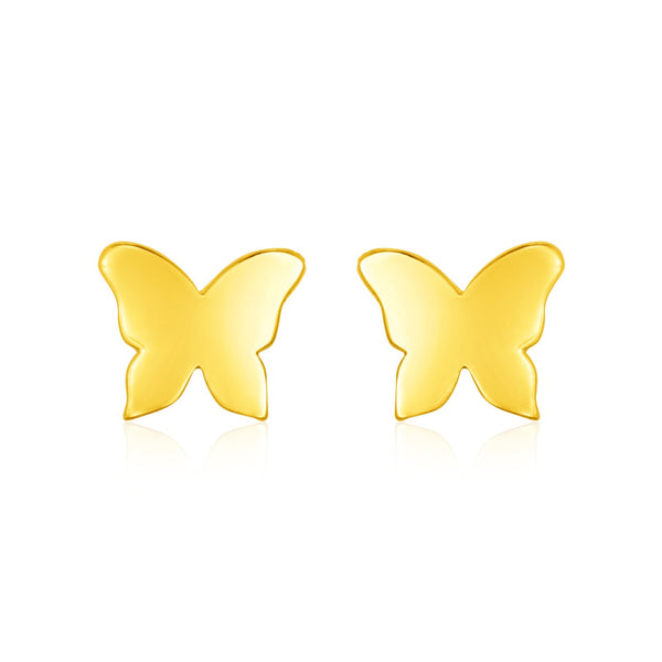 14k Yellow Gold Polished Butterfly Post Earrings