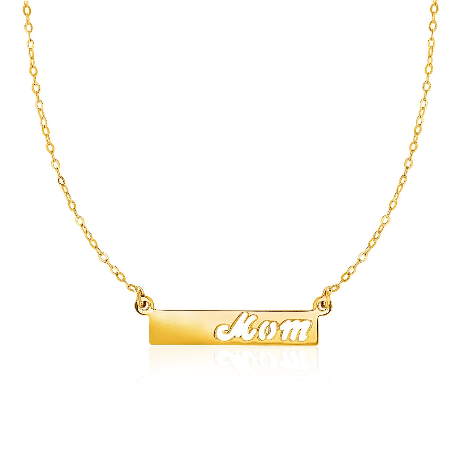 14K Yellow Gold Pendant with  inchesMom inches on Horizontal Bar