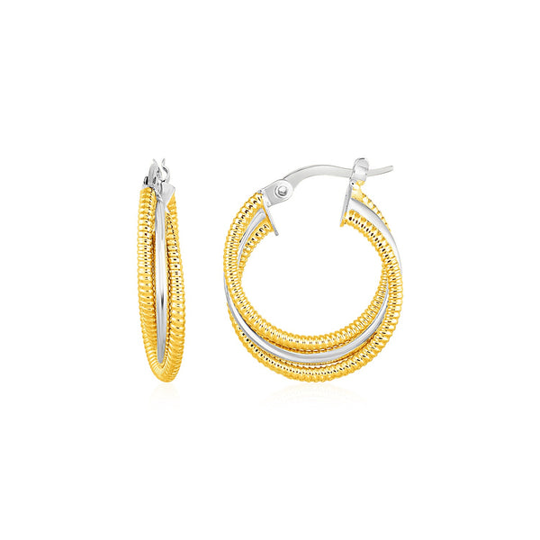 Three Part Textured and Shiny Hoop Earrings in 14k Yellow and White Gold