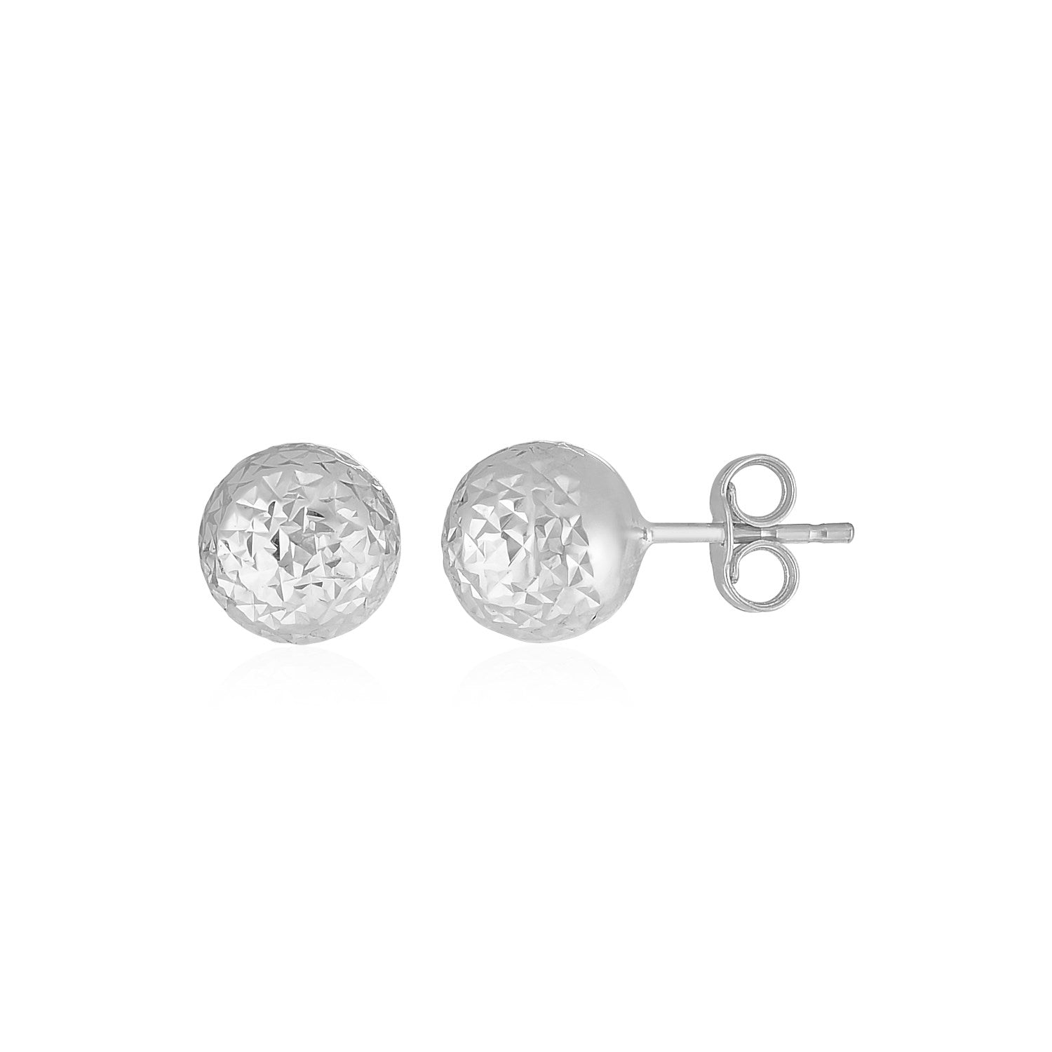 14k White Gold Ball Earrings with Crystal Cut Texture