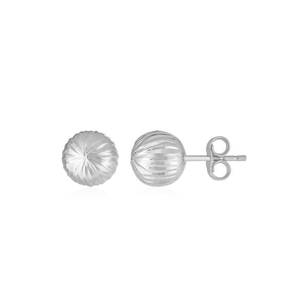 14K White Gold Ball Earrings with Linear Texture