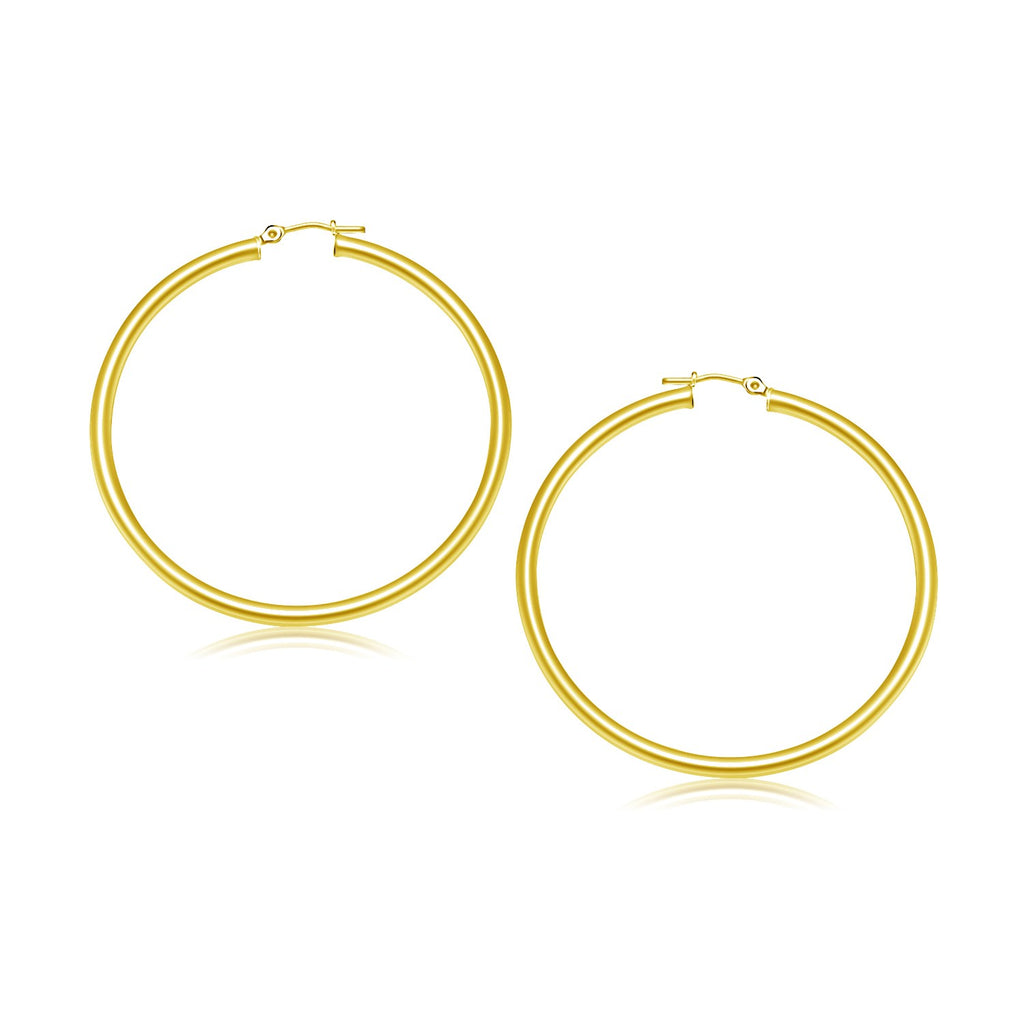 10K Yellow Gold Polished Hoop Earrings (30 mm)
