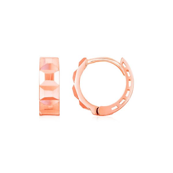 14K Rose Gold Square Motif Faceted Huggie Earrings