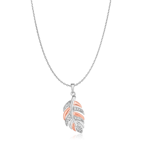 Sterling Silver Two Toned Leaf Pendant with Cubic Zirconias