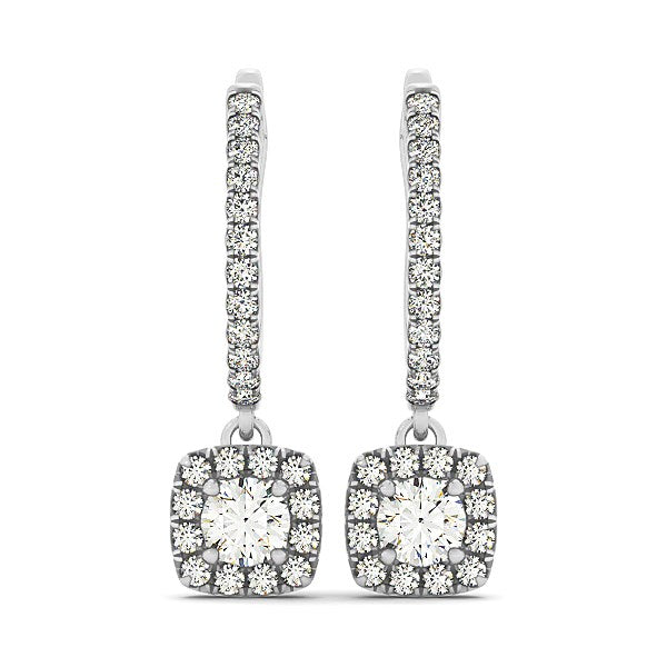 Cushion Shape Halo Style Diamond Drop Earrings in 14k White Gold (1/2 cttw)