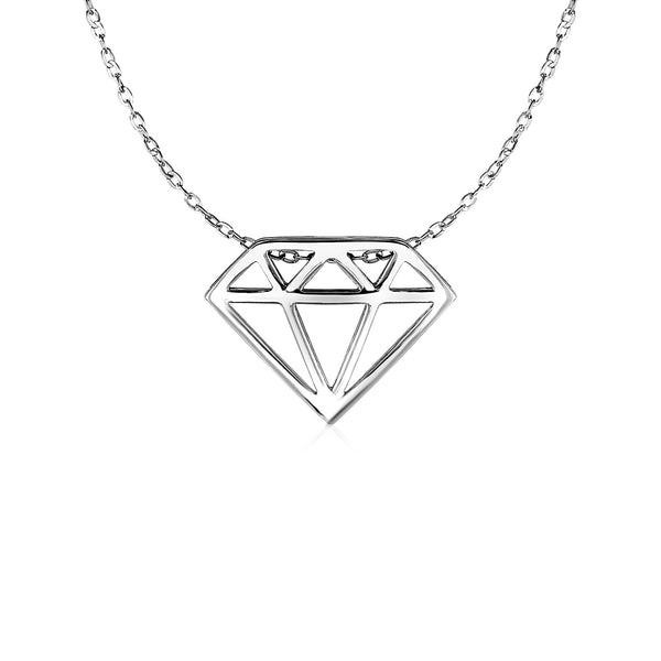 Diamond Symbol Pendant in 14k White Gold
