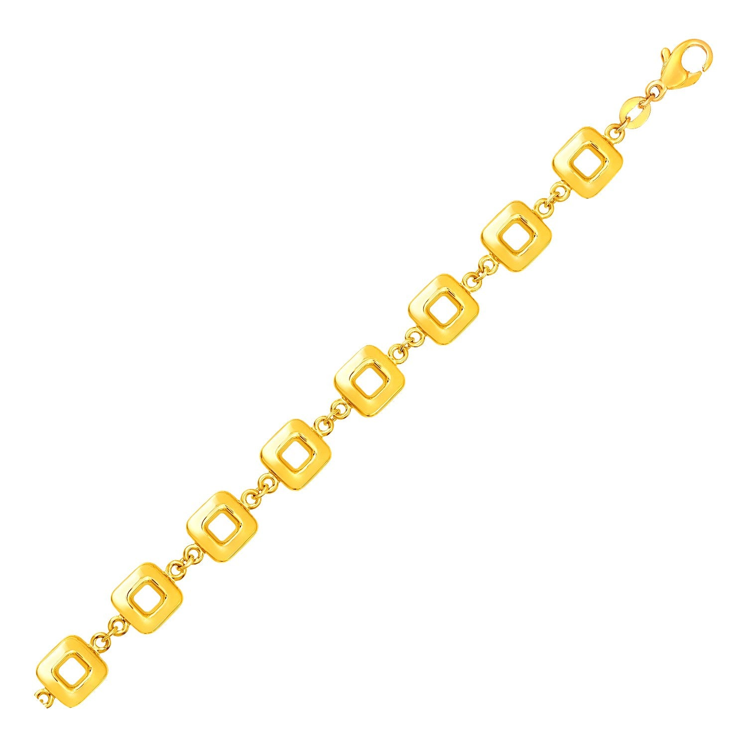Bracelet with Shiny Square Links in 14k Yellow Gold