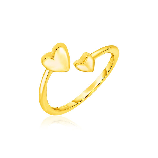 14k Yellow Gold Bypass Style Toe Ring with Polished Hearts