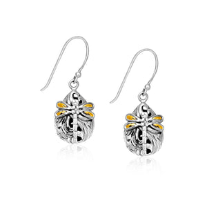18K Yellow Gold & Sterling Silver Teardrop Dragonfly Earrings