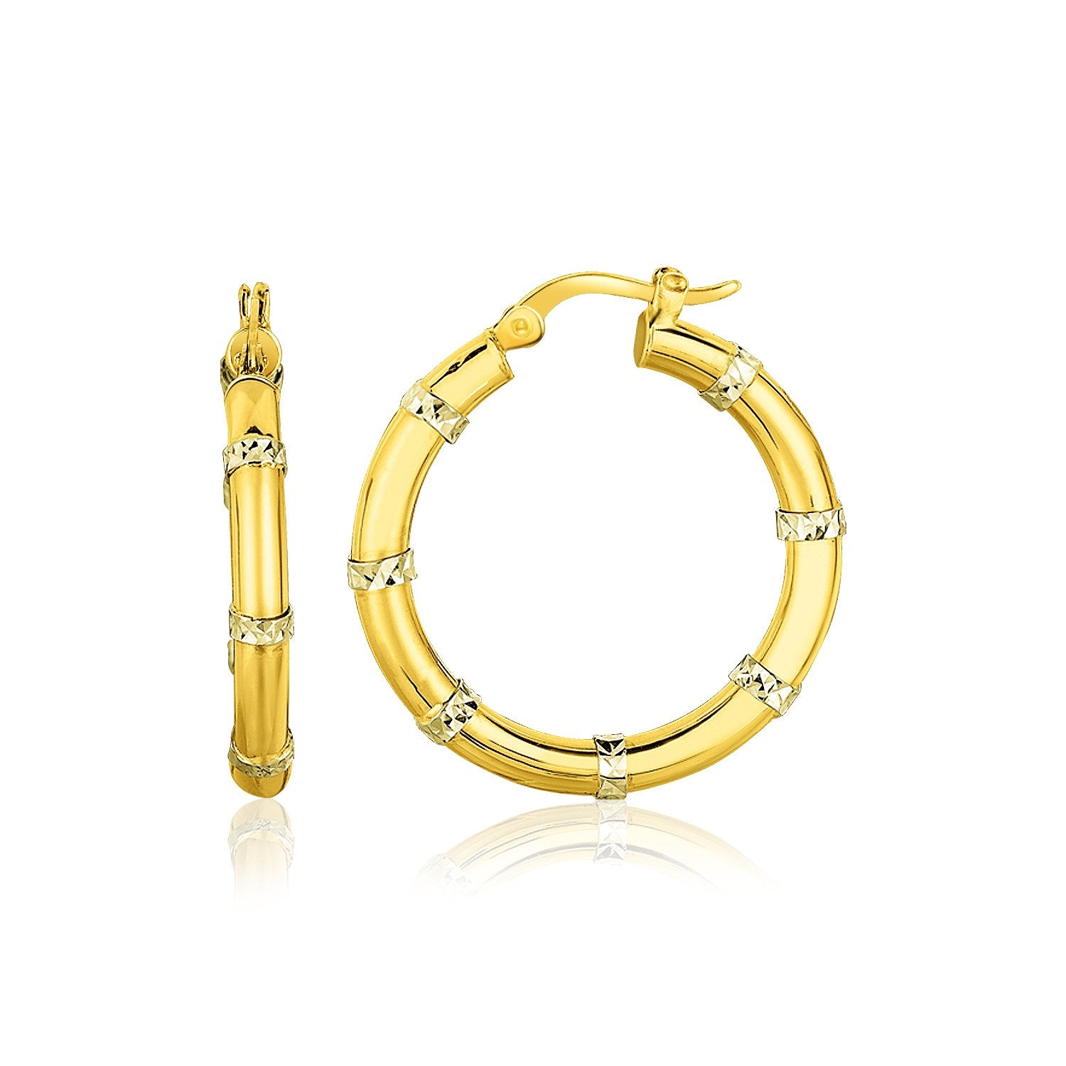 14K Two-Tone Gold Alternate Textured Hoop Earrings