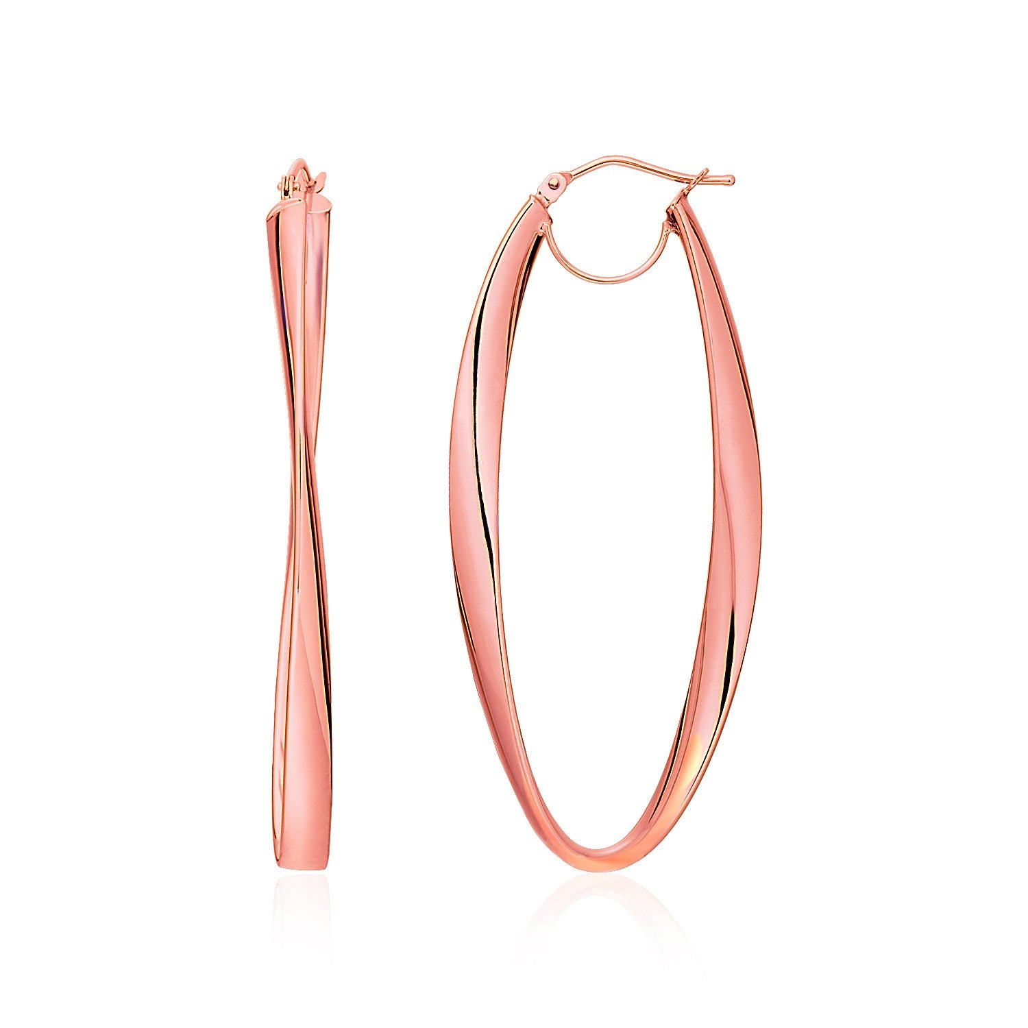 14K Rose Gold Twist Motif Oval Shape Hoop Earrings