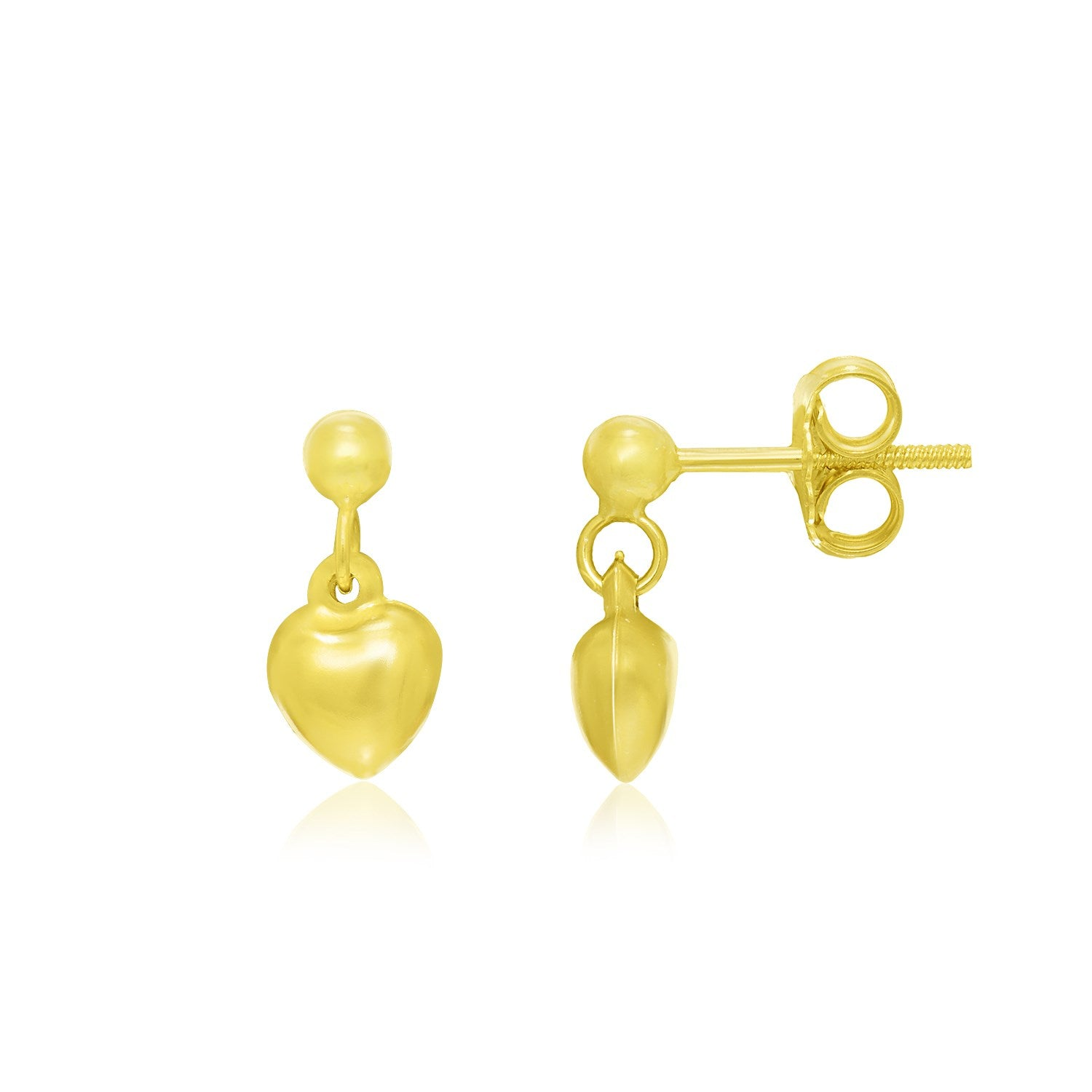 14K Yellow Gold Puffed Heart Children's Dangling Earrings