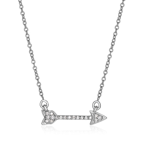 14k White Gold 18 inch Necklace with Gold and Diamond Arrow (1/10 cttw)