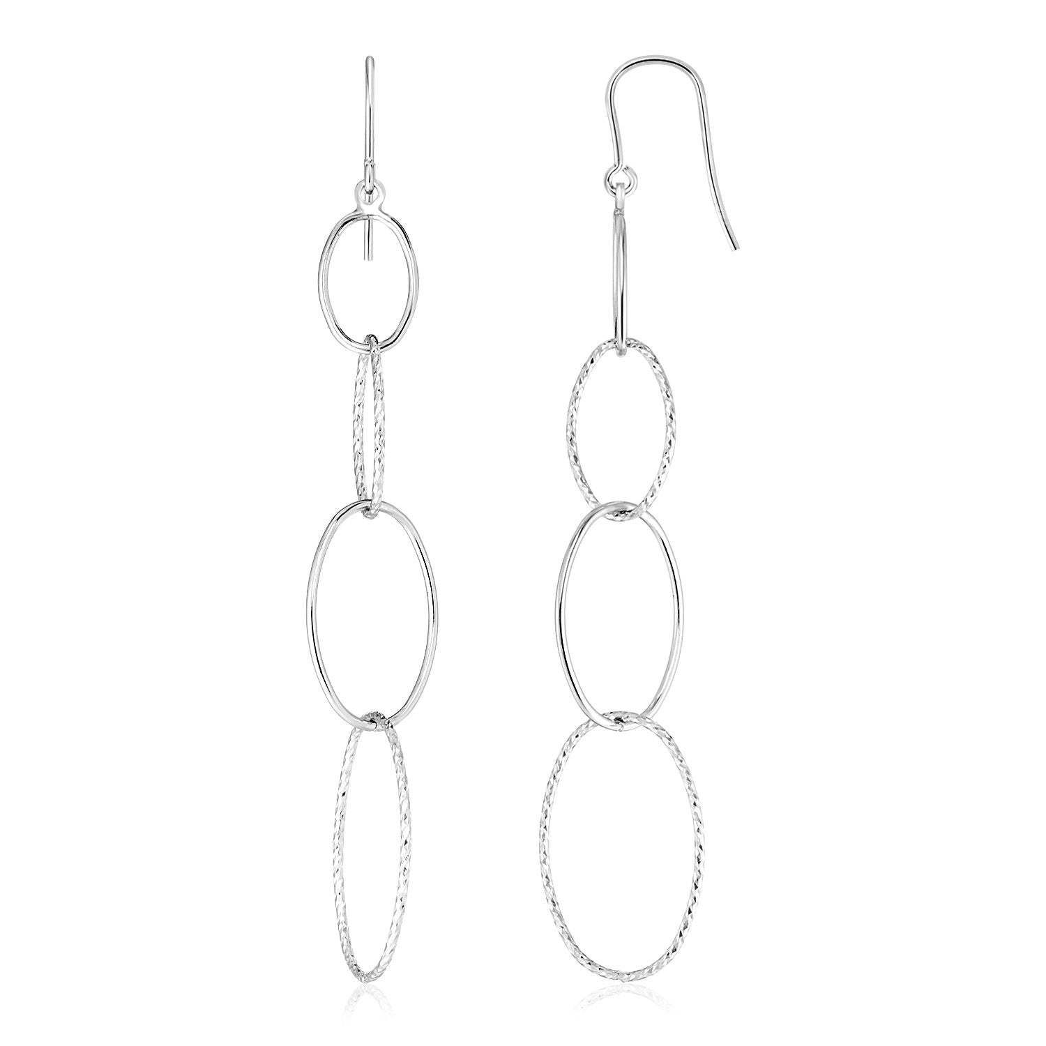 Sterling Silver Polished and Textured Interlocking Oval Dangle Earrings