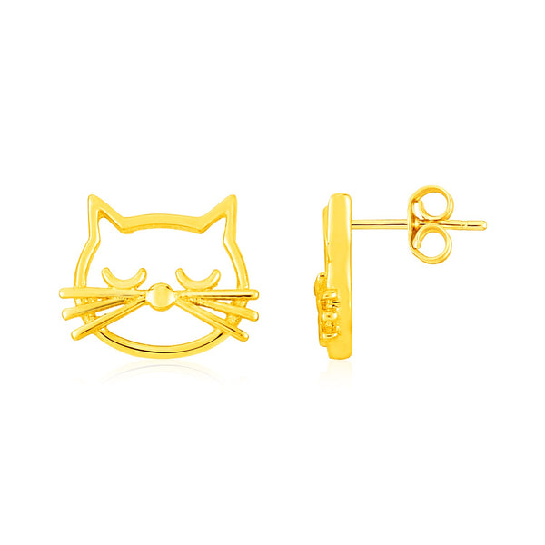 14K Yellow Gold Cat Head Earrings