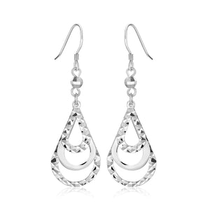 Sterling Silver Textured Graduated Open Teardrop Dangling Style Earrings