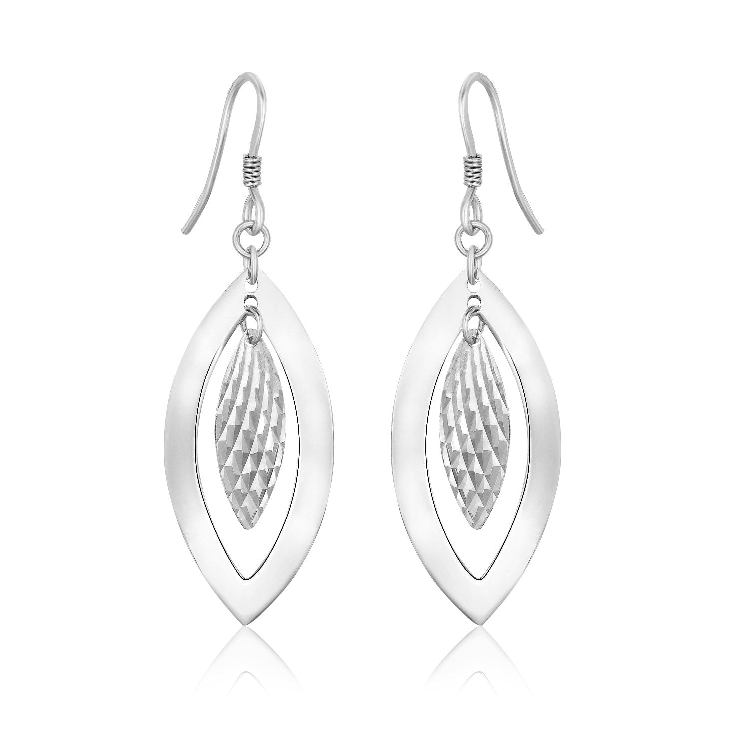 Sterling Silver Dangling Earrings with Dual Open and Textured Marquis Shapes