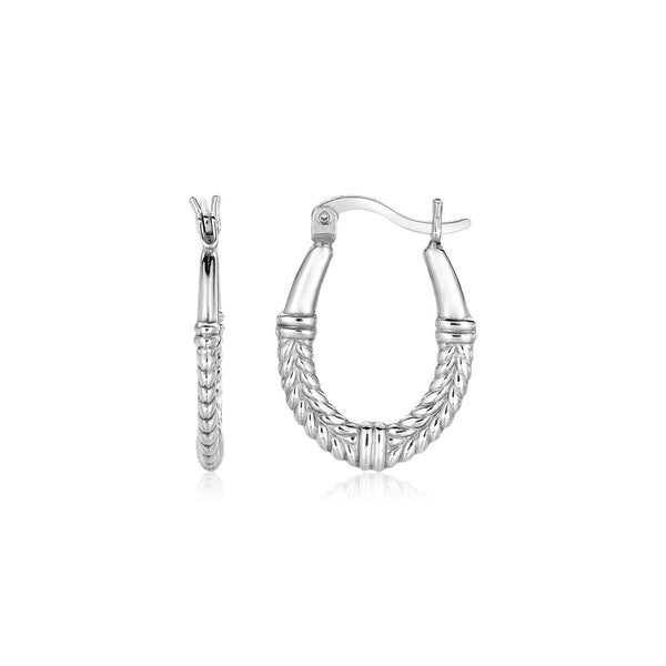 Sterling Silver Oval Hoop Earrings with Rope Texture