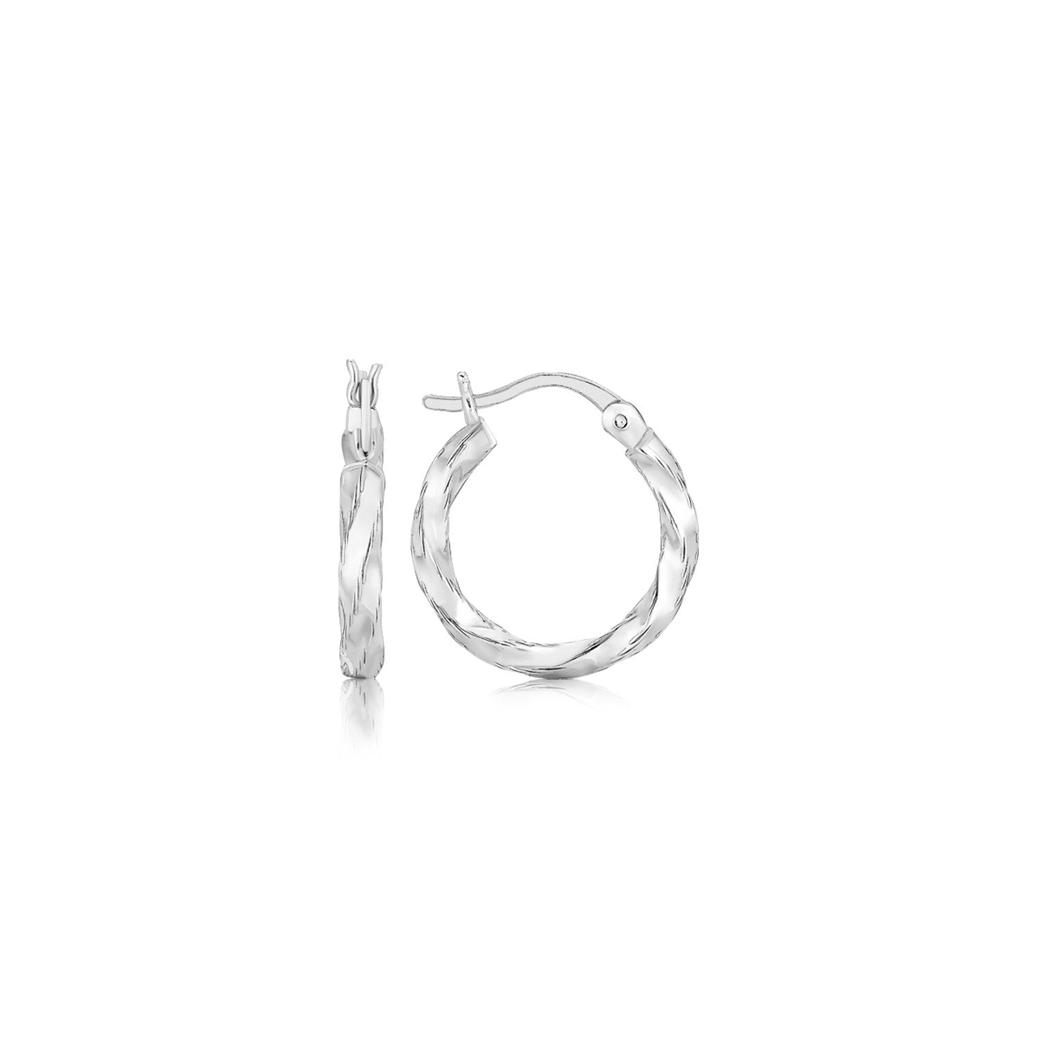 Sterling Silver Polished Twist Design Hoop Earrings
